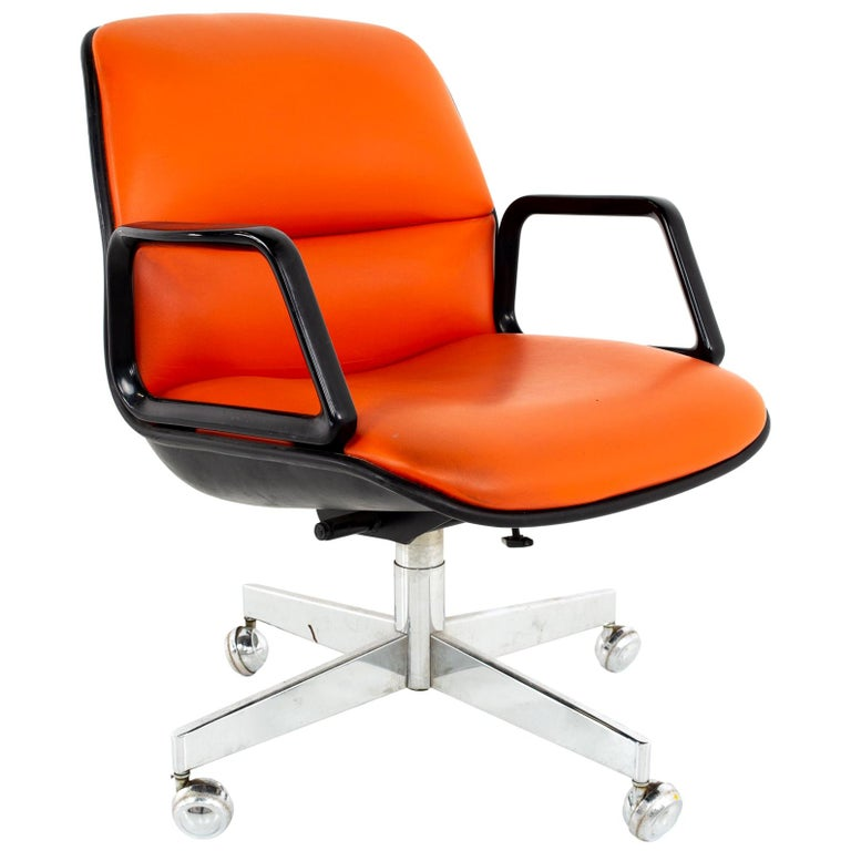 Charles Pollock for Knoll Style Mid Century All Steel Office Desk Chair For Sale