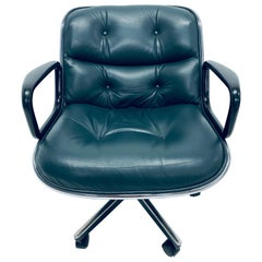 Charles Pollock Hunter Green Leather Desk Chair for Knoll