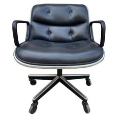 Charles Pollock Leather Office Desk Chair for Knoll