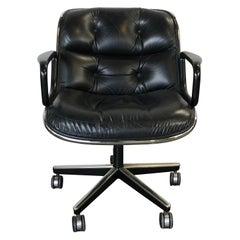 Charles Pollock Leather Tilt Swivel Office Desk Chair by Knoll