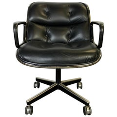 Charles Pollock Leather Tilt Swivel Office Desk Chair by Knoll