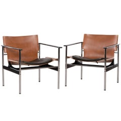 Charles Pollock Lounge Armchairs Model 657 for Knoll in Cognac Saddle Leather
