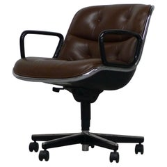 Charles Pollock Office Chairs in Brown Leather, Knoll Labels