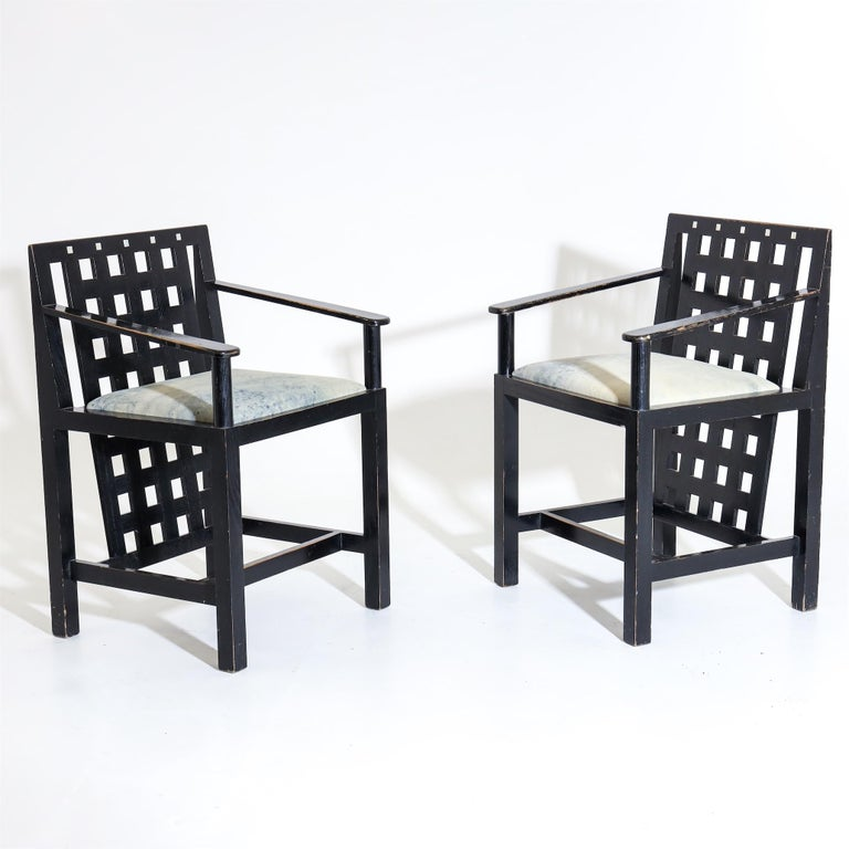 Art Nouveau Charles R. Mackintosh, D.S.4 Armchairs for Cassina, after 1975 For Sale