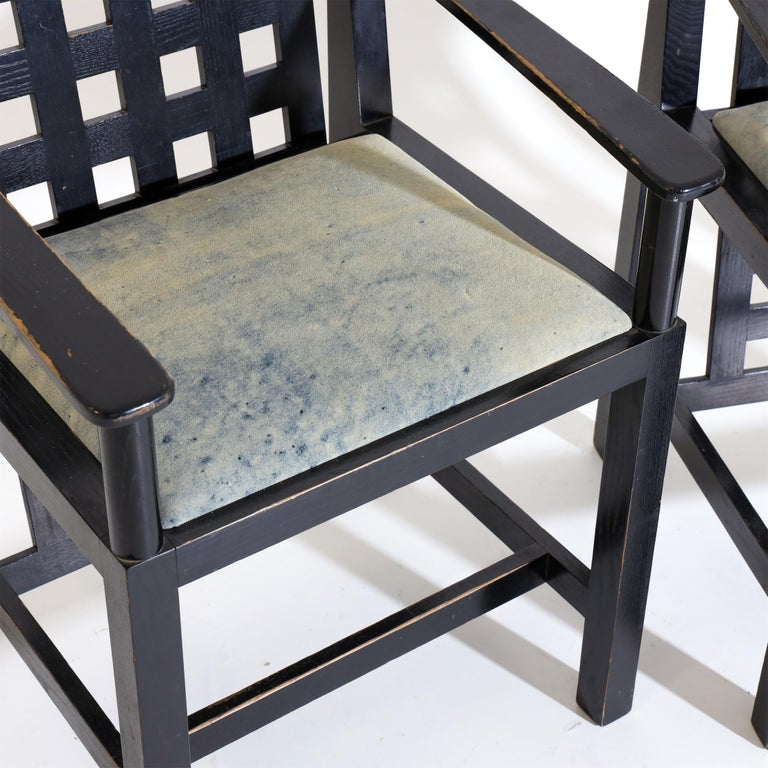 Ebonized Charles R. Mackintosh, D.S.4 Armchairs for Cassina, after 1975 For Sale