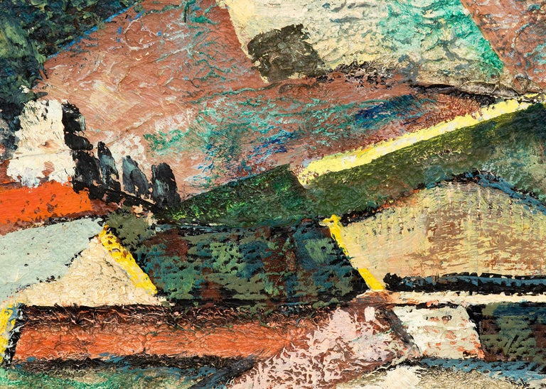 Abstract Mountain Mining Town, 1954 Colorado Landscape, Green, Blue, Red, Orange For Sale 2