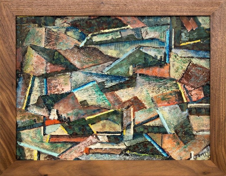 Charles Ragland Bunnell Abstract Painting - Abstract Mountain Mining Town, 1954 Colorado Landscape, Green, Blue, Red, Orange