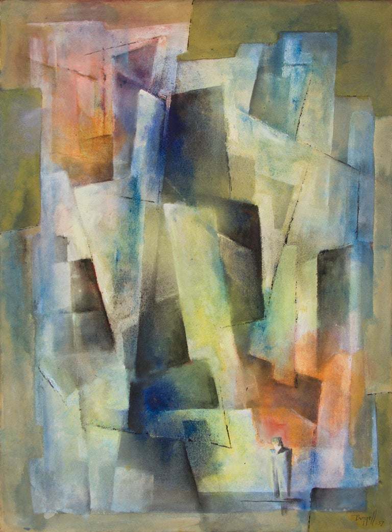 """Original 1957 mid-century modern abstract expressionist painting by Colorado artist, Charles Bunnell (1897-1968), """"Man Alone"""" is painted in oil on canvas in colors including yellow, blue, orange, green.  Presented in a vintage frame, outer"""