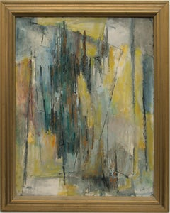 Abstract Expressionist Composition in Yellow, Blue, Teal, Gray, Orange & White