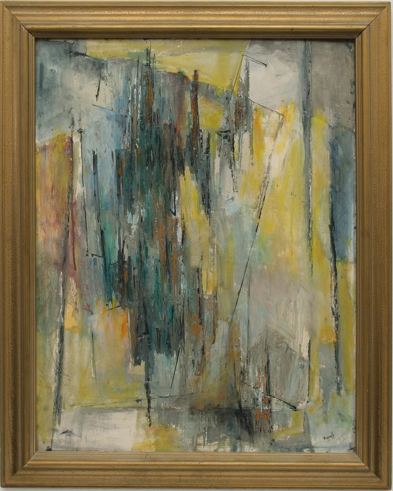 Charles Ragland Bunnell Abstract Painting - Abstract Expressionist Composition in Yellow, Blue, Teal, Gray, Orange & White