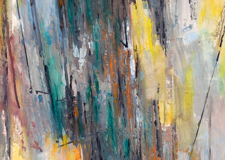 Abstract Expressionist Composition in Yellow, Blue, Teal, Gray, Orange & White For Sale 1