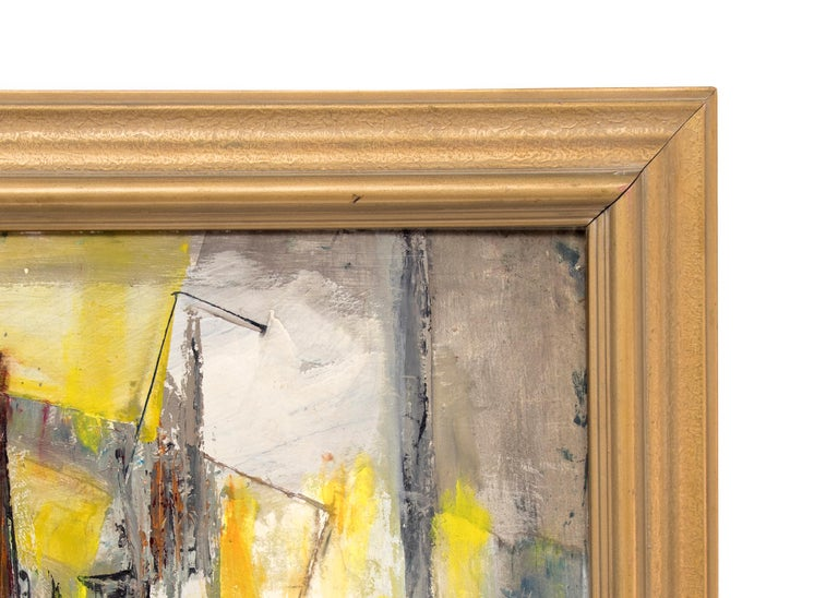 Abstract Expressionist Composition in Yellow, Blue, Teal, Gray, Orange & White For Sale 2