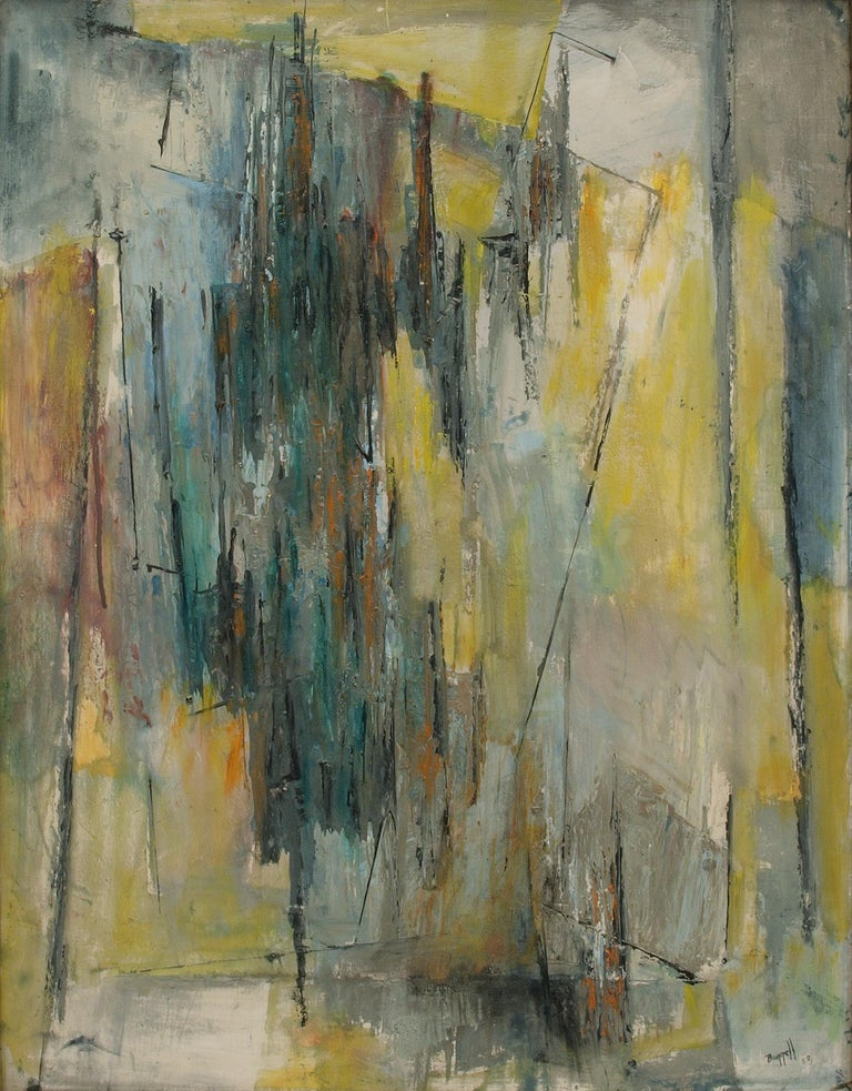 Abstract Expressionist Composition in Yellow, Blue, Teal, Gray, Orange & White - Painting by Charles Ragland Bunnell