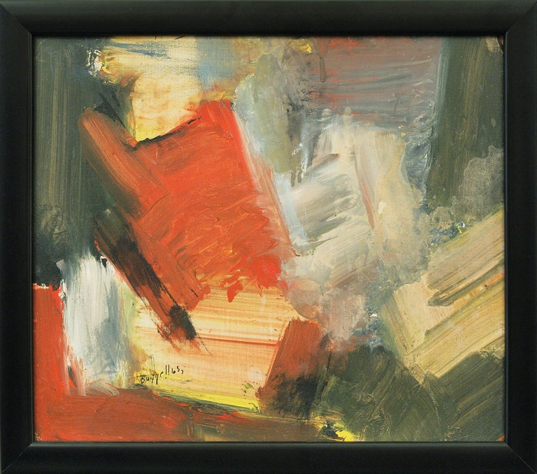 Original vintage 1965 abstract expressionist oil painting by Colorado artist, Charles Bunnell (1897-1968).  Painted in colors of Red, Gray, Green, Black and Yellow.   Presented in a custom frame, outer dimensions measure 12 x 13 ⅜ inches.  Image