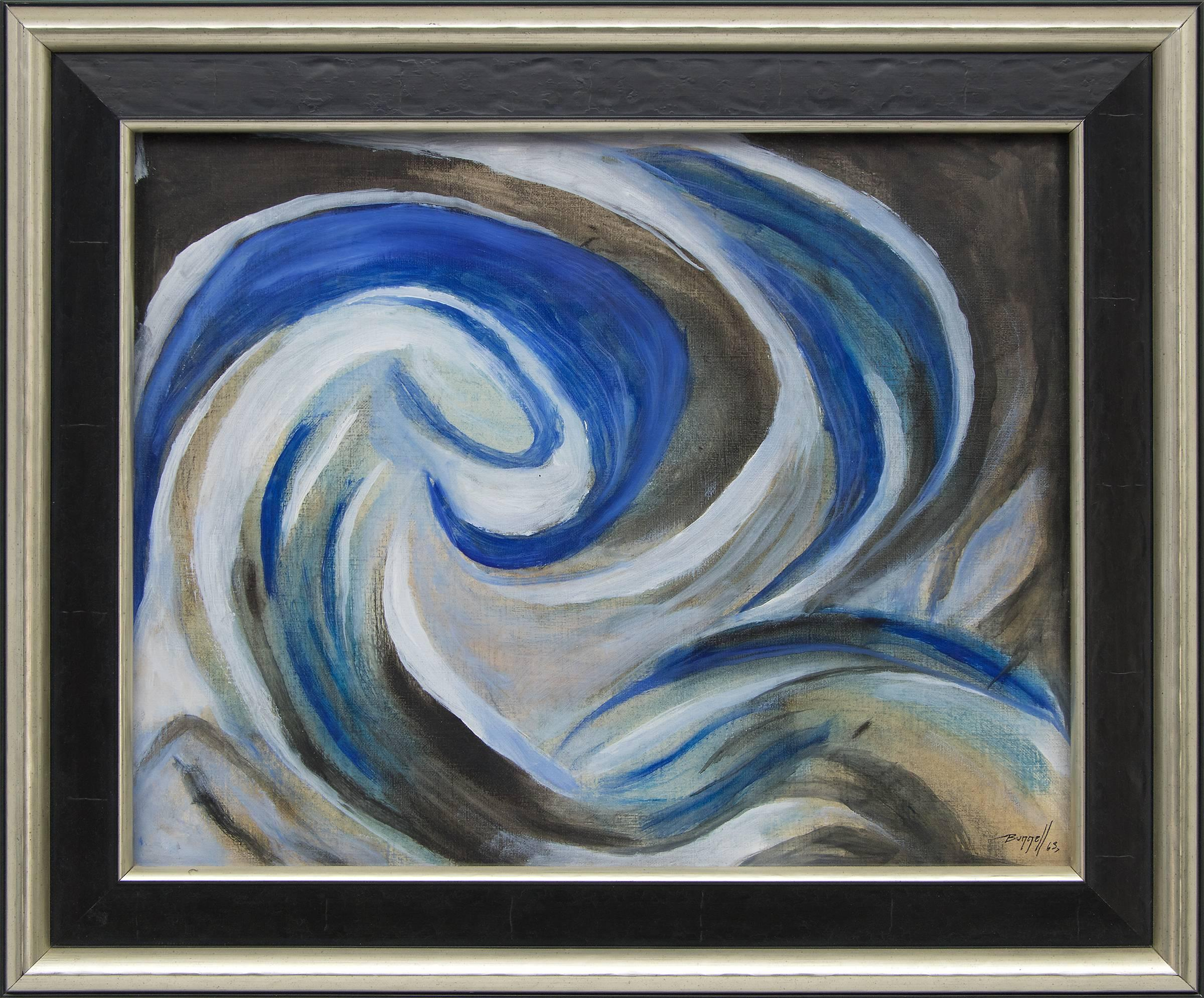 Untitled (Abstract with Blue, Gray, Black and White)