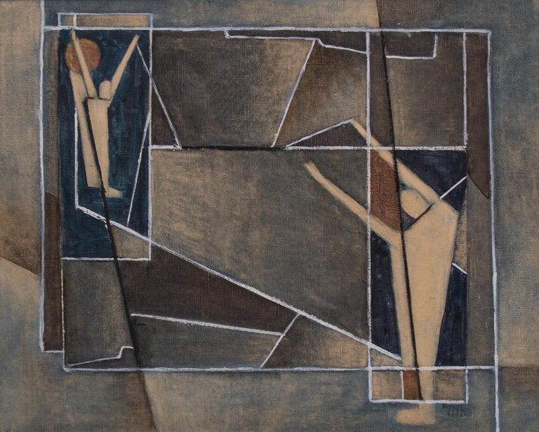 Untitled (Abstract with Figures) - Painting by Charles Ragland Bunnell