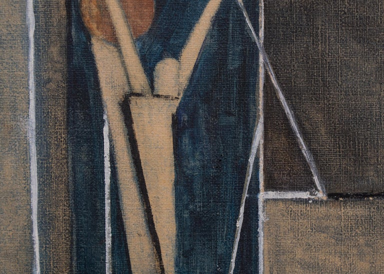 Untitled (Abstract with Figures) - Gray Abstract Painting by Charles Ragland Bunnell
