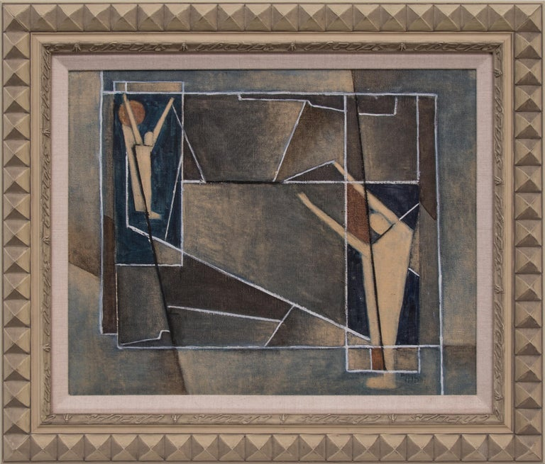 Charles Ragland Bunnell Abstract Painting - Untitled (Abstract with Figures)