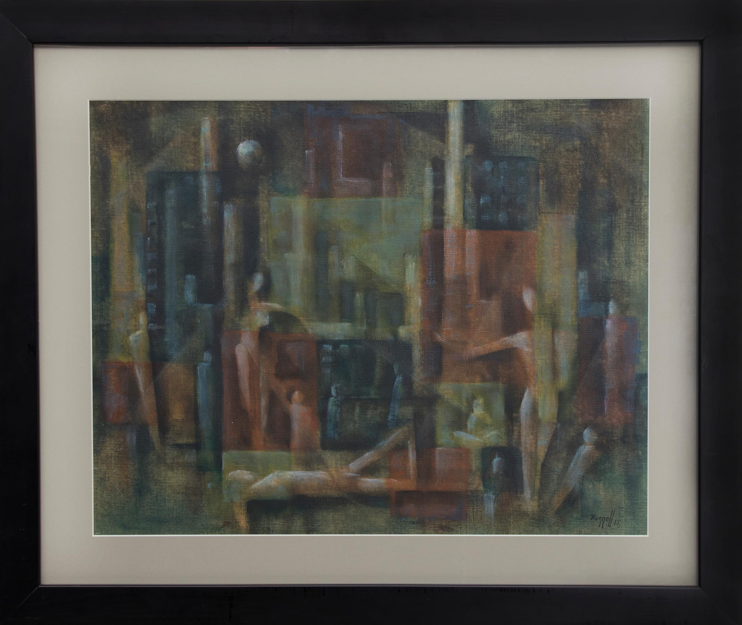 Abstract Painting with Surrealist Figures, Red-Orange, Brown, Blue, Yellow-Green