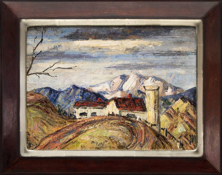 Charles Ragland Bunnell Figurative Painting - Untitled (Colorado Farm and Mountains)