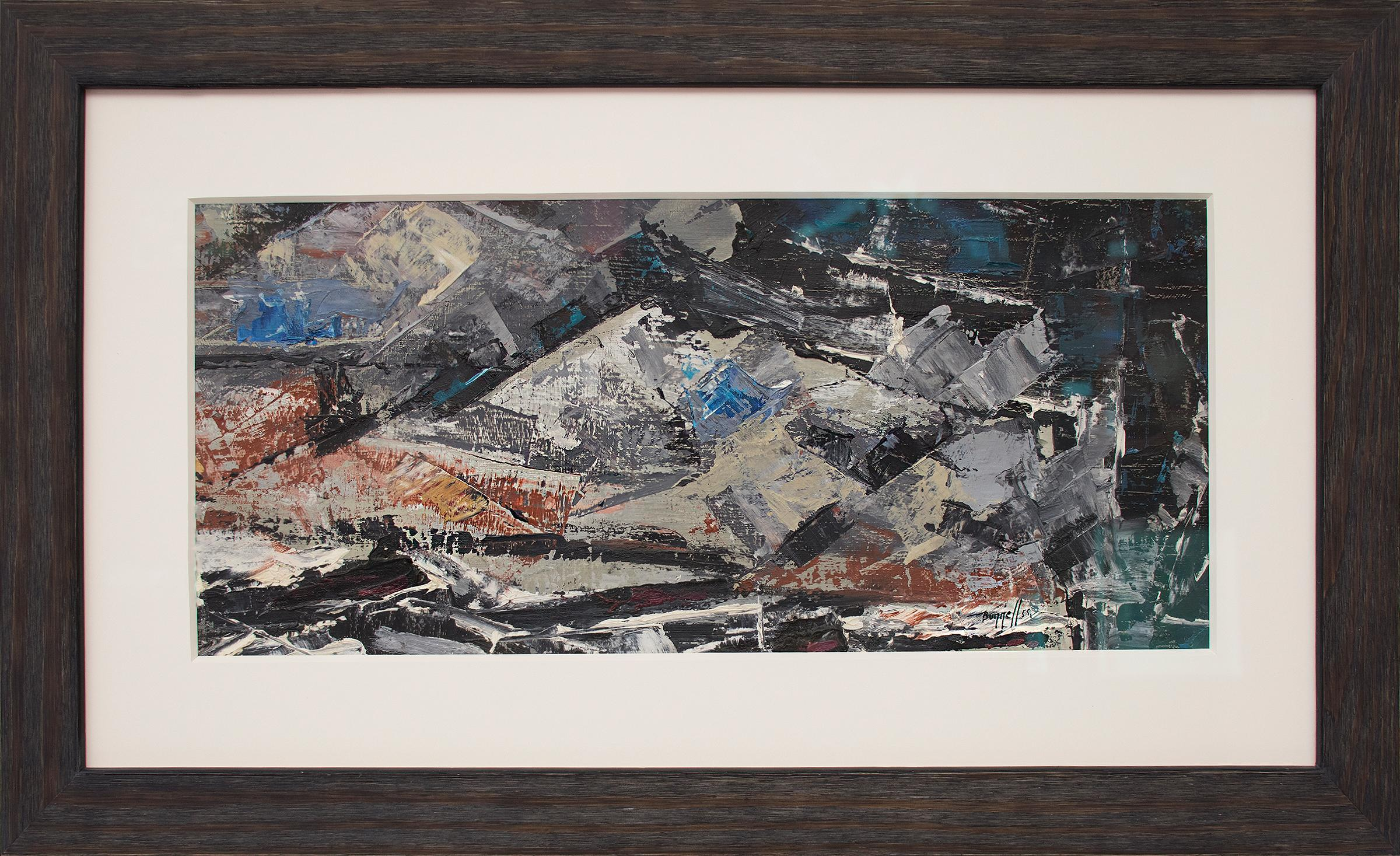 Untitled (Colorado Mountains, Semi-Abstract Landscape: Blue, Black, White, Red)