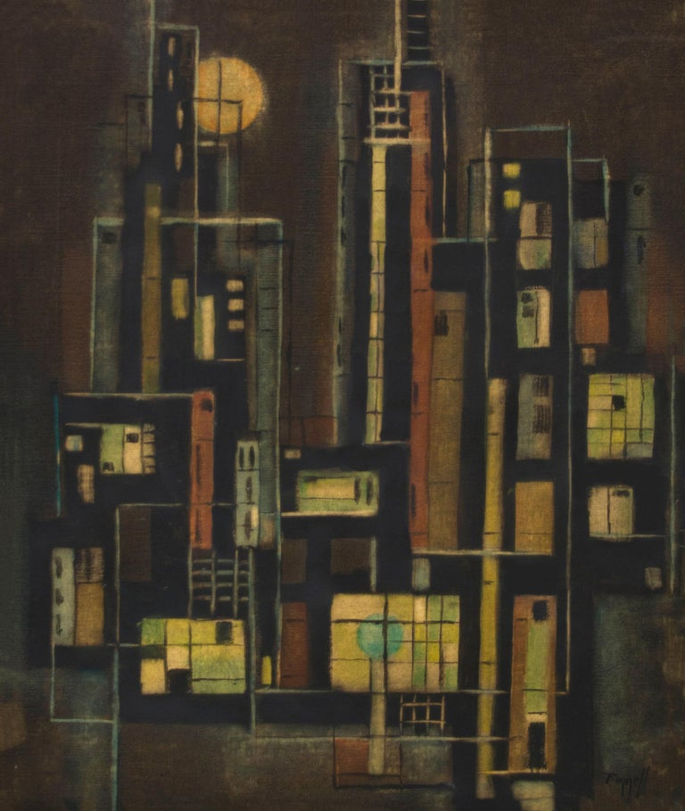 Original circa 1950 mid-century modern signed abstract oil painting by Charles Bunnell (1897-1968) of the New York City skyline at night.  Presented in a custom frame, outer dimensions measure 29 x 25 x 1 ½ inches.  Image size is 19 x 15 ½
