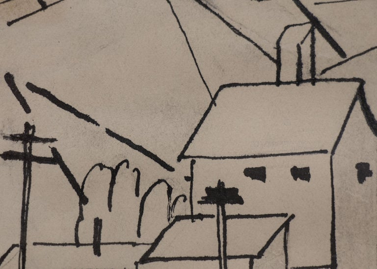 Original pen and ink drawing by 20th century Broadmoor Academy Colorado artist, Charles Bunnell (1897-1968) with houses and mountains, likely a Colorado mining town, circa 1935.  Presented in a custom frame, outer dimensions measure 11 ½ x 9 ½