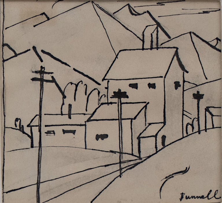 Charles Ragland Bunnell Landscape Painting - Untitled (Study of a Mountain Town, Colorado)