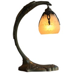 Charles Ranc Table Lamp Bronze Glass, 1930, France