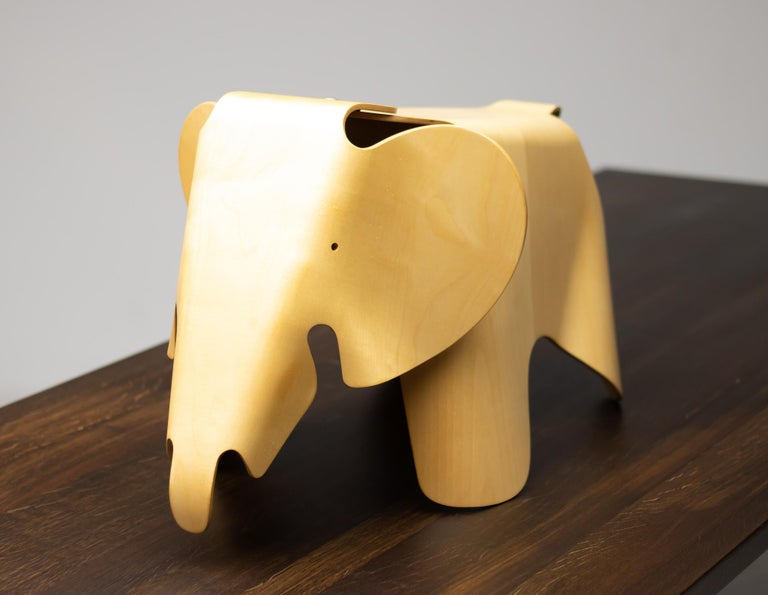 Charles and Ray Eames were fascinated by elephants. Many images of these gentle giants are found in Charles' photographic documentations of Indian culture and the circus world. The plywood elephant was designed in 1945 as a playful offshoot of their