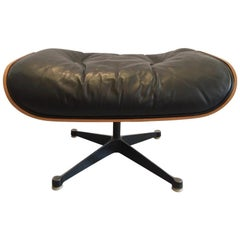 Charles & Ray Eames Black Leather and Rosewood Ottoman for Lounge Chair