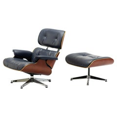 Charles & Ray Eames Blue Leather 670/671 Lounge Chair and Ottoman
