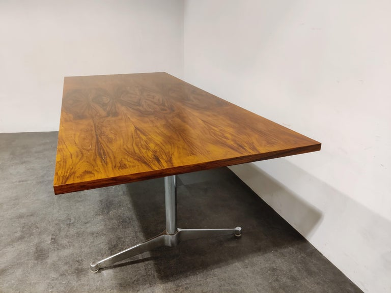 Chrome Charles & Ray Eames Dining Table or Conference Table, 1960s For Sale