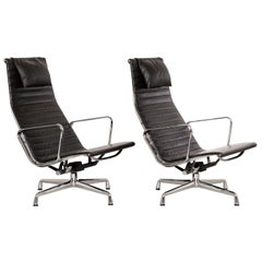 Charles & Ray Eames EA124 Aluminum Lounge Chairs in Black Leather by Vitra