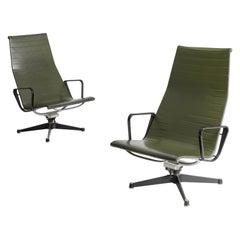 Charles & Ray Eames EA124 Lounge Chairs in Green Leather by Herman Miller