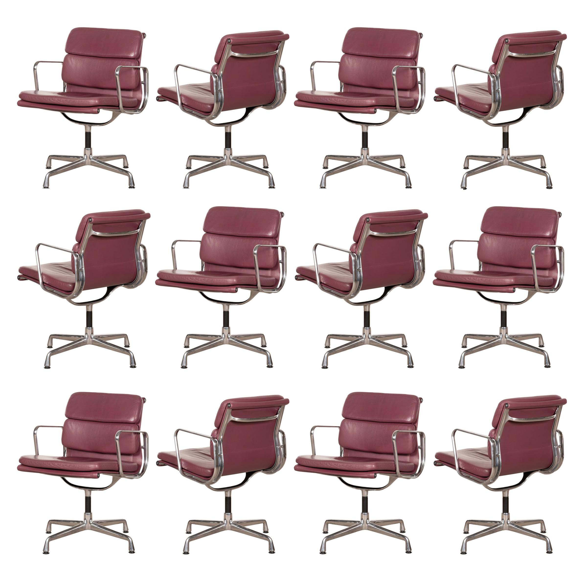 Charles & Ray Eames EA208 Soft Pad Chairs in Aubergine / Purple Leather by Vitra