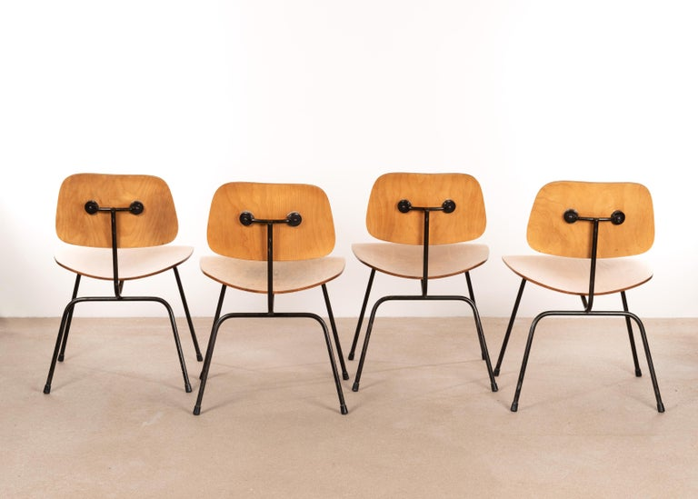 Mid-Century Modern Charles & Ray Eames Early 1953 DCM Maple Side Chair Dining Set by Herman Miller For Sale