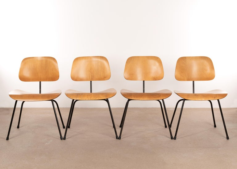 Enameled Charles & Ray Eames Early 1953 DCM Maple Side Chair Dining Set by Herman Miller For Sale