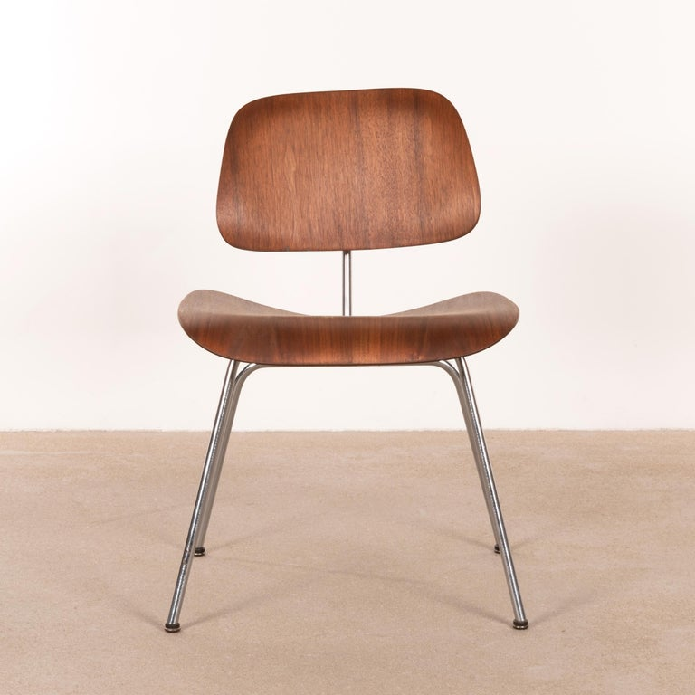 Metal Charles & Ray Eames Early DCM Walnut Side Chair by Herman Miller, USA