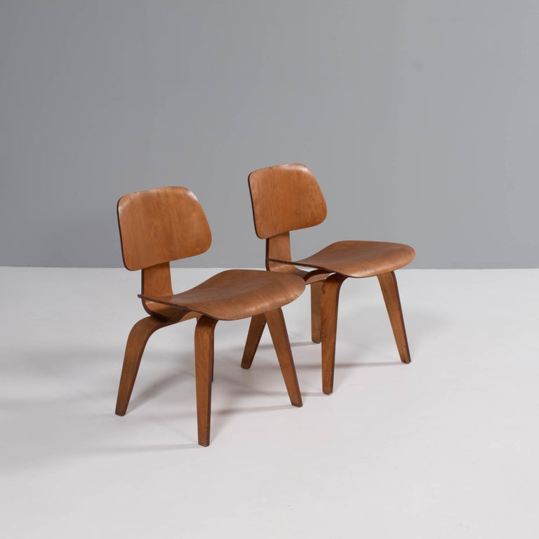 The DCW chair was originally released in 1946, with Herman Miller taking over the manufacture of the chairs in 1950. This lasted until 1953 when the chairs were taken out of production until 1994.   These chairs are 2nd generation (1st generation