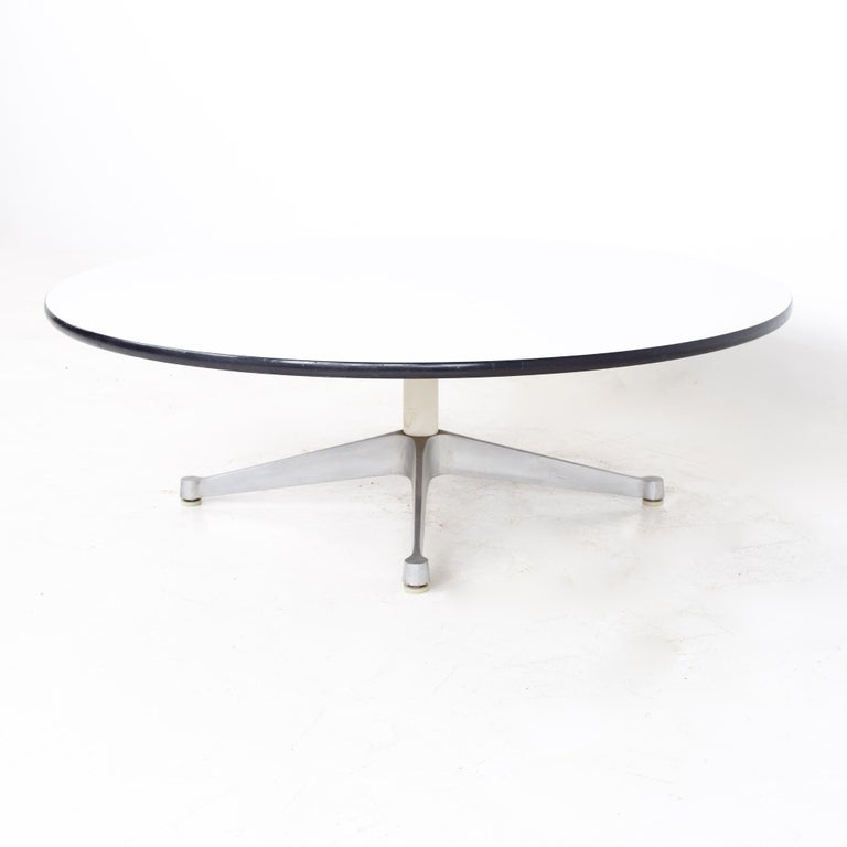 Mid-Century Modern Charles Ray Eames Herman Miller Aluminum Group MCM Round Stainless Coffee Table For Sale