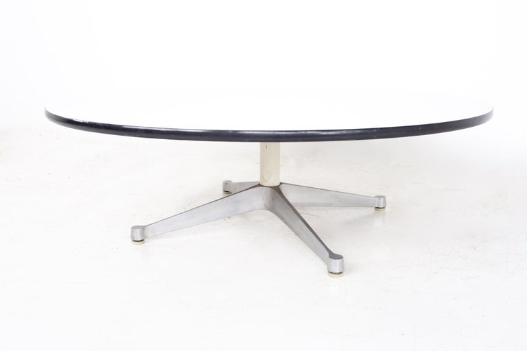 American Charles Ray Eames Herman Miller Aluminum Group MCM Round Stainless Coffee Table For Sale