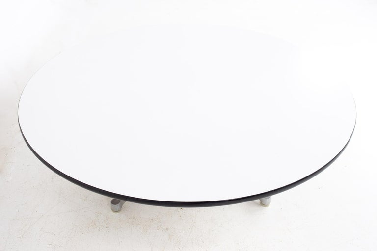 Late 20th Century Charles Ray Eames Herman Miller Aluminum Group MCM Round Stainless Coffee Table For Sale