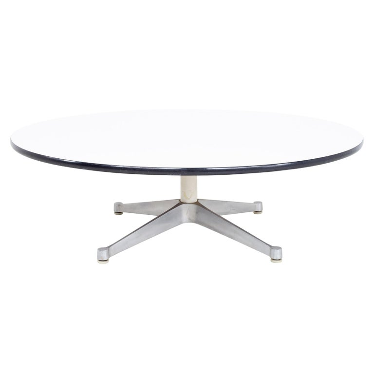 Charles Ray Eames Herman Miller Aluminum Group MCM Round Stainless Coffee Table For Sale