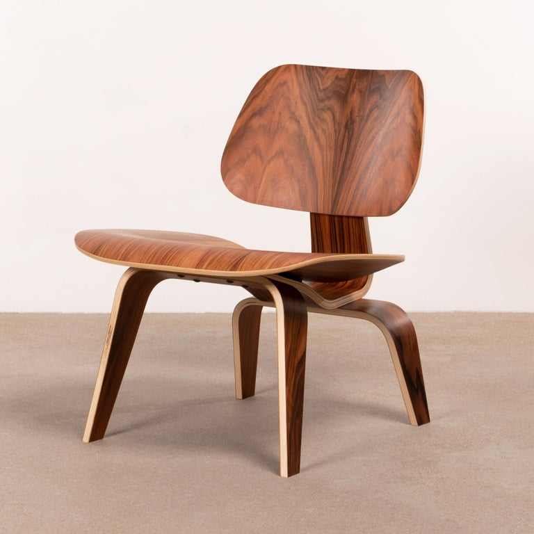 Rubber Charles & Ray Eames LCW Santos Palisander Lounge Chair for Herman Miller For Sale
