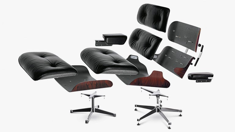 Cast Charles & Ray Eames Lounge Chair 670 and Ottoman 671 for Vitra For Sale