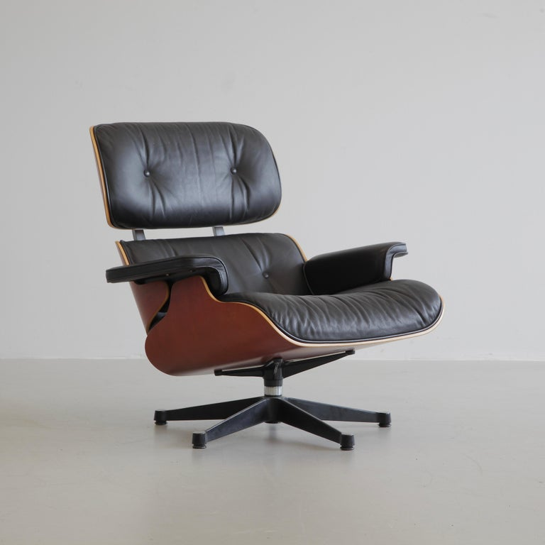 Leather Charles & Ray Eames Lounge Chair and Footstool, Vitra 1999 For Sale