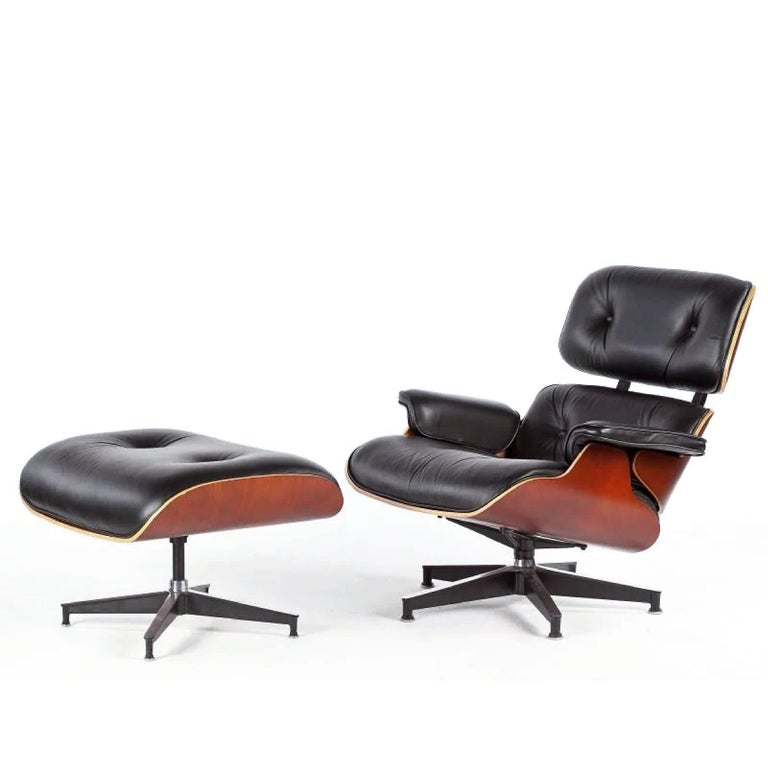Charles, Ray Eames lounge chair and ottoman, Herman Miller, 50th Anniv., Ltd ed., 1956-2006. Iconic design, limited edition produced an occasion of 50th anniversary of original 1956 production. Single owner. Very good condition. Black leather. I
