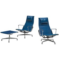 Charles & Ray Eames Pair of Swivel Lounge Chairs with Ottoman