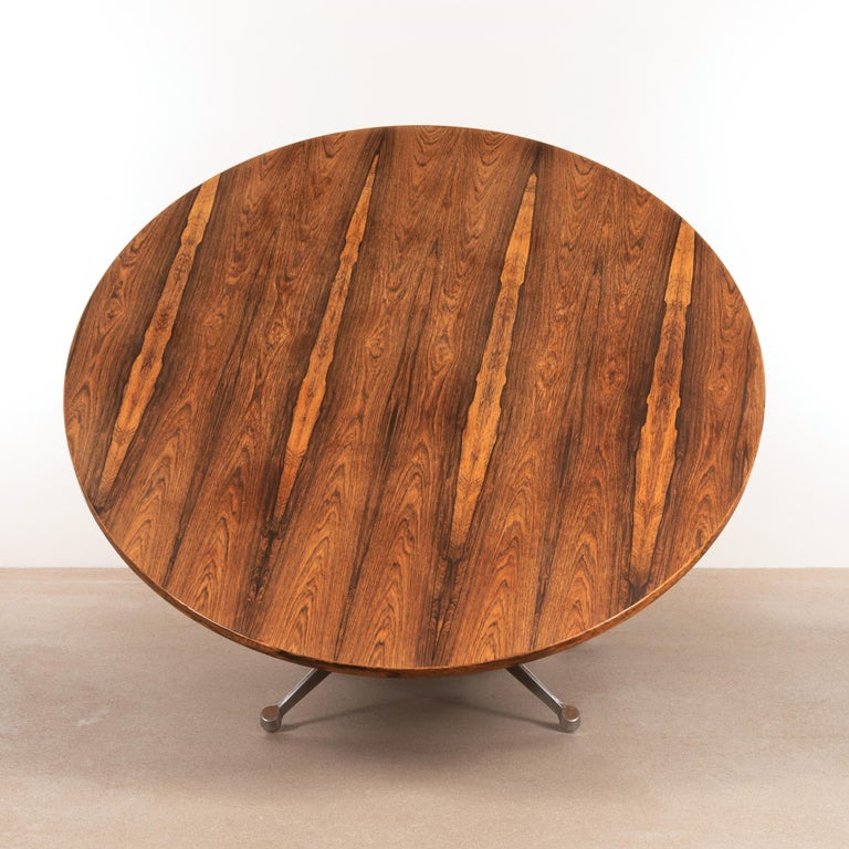 Veneer Charles & Ray Eames Rosewood Dining Table with Contract Base for Herman Miller For Sale